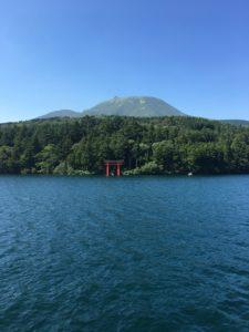 芦ノ湖から見える九頭龍神社