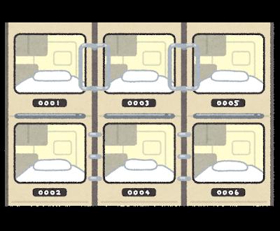 カプセルホテルのイラスト