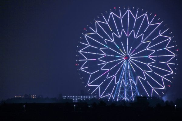 夜の葛西臨海公園の大観覧車