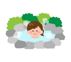 温泉に入る女性のイラスト