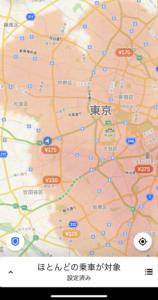 UBER配達アプリの地図