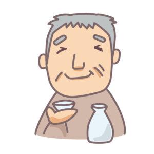 日本酒を飲むおじさん