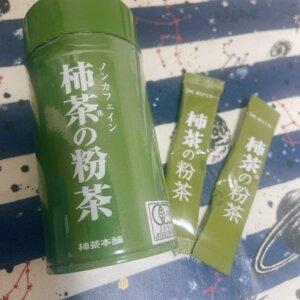 柿茶の粉茶の筒と個包装