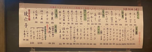 寿司屋のメニュー表
